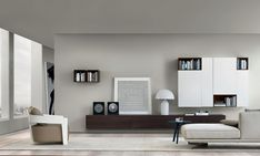 Gorgeous wooden wall-mounted living room units decorated using black and white accessories