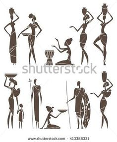 Silhouettes of native African men and women. Silhouettes of African men and wome , Arte Tribal, Tribal Art, African Drawings, African Art Paintings, African Masks, African Men, African Attire, African Style, African Dress