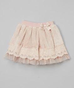 Look at this #zulilyfind! Mauve Bow-Accent Lace Fuzzy Skirt - Toddler & Girls #zulilyfinds