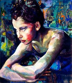 Artist: Charles Dwyer, mixed media {contemporary figurative illustrator beautiful female head arms female face portrait painting}
