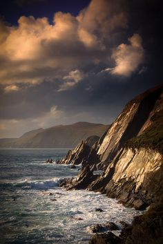 Great Blasket Island beyond the jagged cliffs of the Dingle Peninsula