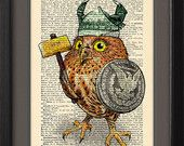 Owl funny print, Precious Little Owl Viking, DICTIONARY book page Print, Gift poster, Home dorm kids room  Wall decor, CODE/113