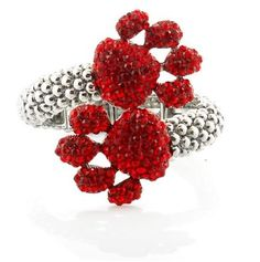 Paw Print Red Pave Crystal Hinged Cuff Bracelet