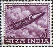 India 1965 Hindustan Aircraft Industries Ajeet Jet Fighter Fine Used SG 511 Scott 413 Other Asian and British Commonwealth Stamps HERE!