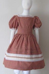Little Sisters #08-001 | Civil War Dresses, Rust and cream check homespun.