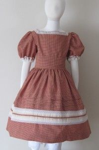 Little Sisters #08-001 | Civil War Dresses, Rust and cream check homespun.