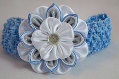 Headband with kanzashi flower hair clip hairpin por myflowersshop