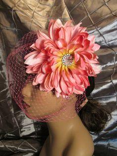 Pamela Pink Flower Fascinator with Birdcage Veil, Flower Fascinator, vintage
