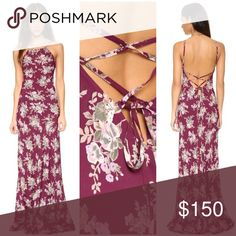 FLYNN SKYE STRAPPY BACKLESS MAXI DRESS TULAROSA Gorgeous floral maxi from Flynn Skye, in super lightweight lux rayon. Halter style front, adjustable lace up back. Small best fits US 4. NWOT from our showroom. REASONABLE OFFERS / 🅿️🅿️ welcome. No trades babes Flynn Skye Dresses Maxi