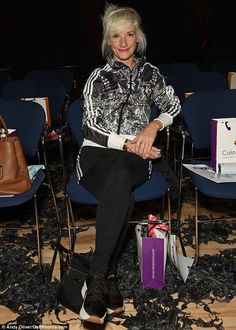 Still got it!Beloved actress Jane Horrocks was also nestled on the front row, cutting a youthful figure in a sporty monchrome jacket and black trainers