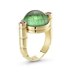 Miseno ring from the Seahorse Collection, set with green tourmaline and rubellite in yellow gold.