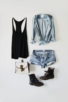 Casual summer wear. never tried the combat boots with shorts but it looks cute here