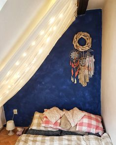 Bed room twinkle lights dream catcher