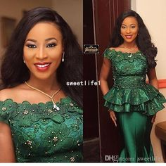 Nigeria Style 2018 Bateau Neck Evening Dresses With 3D Flora Appliques Crystal Mermaid Emerald Green Formal Occasion Prom Dresses Custom Evening Dresses For The Fuller Figure Evening Dresses Formal From Sweetlife1, $131.16  DHgate.Com