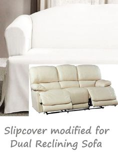 Dual Reclining SOFA Slipcover T Cushion White Cotton Adapted For Dual Recliner  Couch