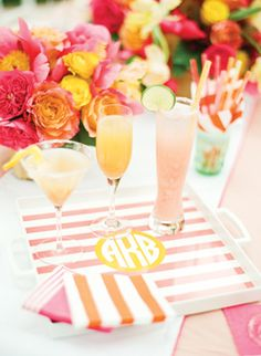 "LOVE seeing our ""Emily Ley"" striped + monogrammed tray in Southern Weddings V5! 