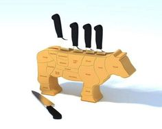 Kitchen : Astounding unique cow shape knife holder design ideas made from wooden picture - a part of Awesome And Innovative Knife Holders For The Contemporary Kitchen