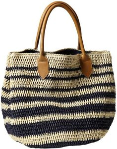 Gap Blue Striped Straw Tote
