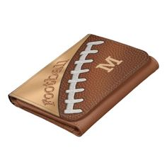 Your Monogram or Jersey Number Football Wallets in Leather, as shown, or Nylon, Denim or a great looking Faux Leather Football Wallet. Personalized Football Gifts CLICK HERE: http://www.zazzle.com/littlelindapinda/gifts?cg=196532339247083789&rf=238147997806552929*   Great personalized football gift ideas for players, team, coach and football lovers and fans. Personalized Gifts for Teenagers, Men, Boys and the whole family: Designs CLICK HERE: http://www.Zazzle.com/LittleLindaPinda*/