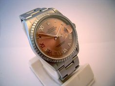 A gents stainless steel, salmon dial Rolex 'DateJust' circa 2007.