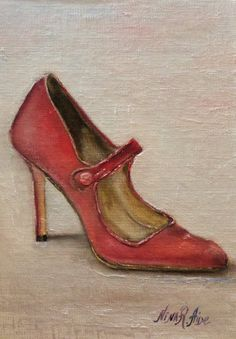 Original Oil Painting Shoe Lover 2 Campy  Manolo by RomaGalleries. Sold