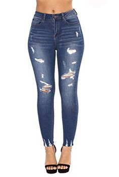 Women Casual Solid Skinny Jean Pants High Waist Long Pencil Pants OK