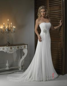 Empire Strapless Chapel Train Chiffon Wedding Dress with Crystal Floral Pin