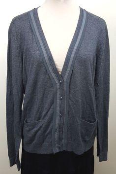 Banana Republic sweater Sz XL charcoal gray embellished cardigan  #BananaRepublic #Cardigan