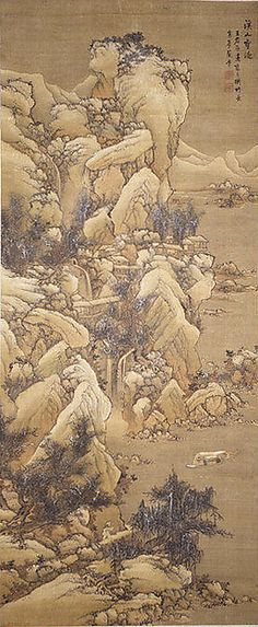 Boating amid Snowy Streams and Mountains-- Lan Meng-1614-1671