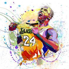 LONA impresión K Bryant LA Lakers 24 contemporáneo por KatiaSkye