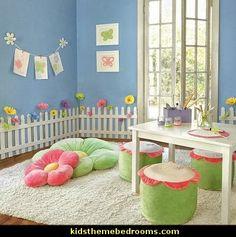 White Wooden Picket Fences for Kids Room Wall Border Garden Room Decor Stanza per bimba a tema Giardino Staccionata fiori e farfalle