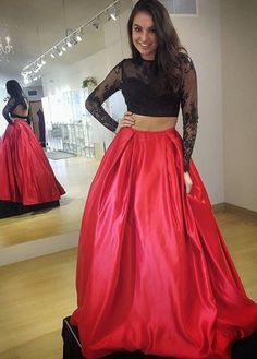 ac54fa5a829d Long sleeve red two piece lace satin keyhole Prom Dresses Long With Sleeves