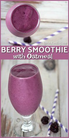 Berry Smoothie with Oatmeal recipe - an easy dairy free breakfast blackberry smoothie combining oatmeal with frozen berries for a healthy and tasty morning meal smoothie dairyfree blackberry berries breakfastsmoothie # Frozen Berry Smoothie, Smoothie Proteine, Blackberry Smoothie, Mixed Berry Smoothie, Berry Smoothie Recipe, Fruit Smoothie Recipes, Blueberry Spinach Smoothie, Berry Juice, Jelly Recipes