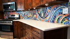 "Terry Wright Studio on Instagram: ""This is my crazy backsplash in my kitchen. I'd love to do a custom mosaic backsplash for you. #mosaicartist #mosaicsforsale #elpasoartist…"" Living Roofs, Bottle Wall, Mosaic Backsplash, Natural Building, Kitchen Cabinets, Flooring, Studio, Interior, Instagram"