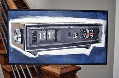 11:11 - Make a Wish! Painted on wood - A classic vintage flip clock displays my favorite time of day! Folk Art Painting by Rob Johnston.