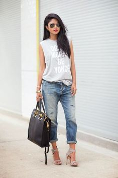 @roressclothes closet ideas #women fashion Pretty Outfit Idea with Jeans and Tank Top