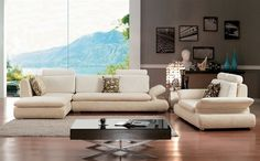 Cream soft microfiber sectional sofa with polished chrome legs. This sectional is designed to bring an appealing new style to your home. You can choose from a variety of different colors to further customize your sofa set making your dream living room a possibility. This sofa is customizable! Many c...