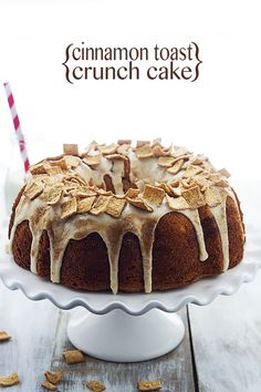 This easy and insanely moist Cinnamon Toast Crunch Bundt Cake starts with a cake mix and has a cinnamon-sugar swirl and cream cheese frosting! Cinnamon Bundt Cake Recipe, Cinnamon Toast Recipe, Sweet Recipes, Cake Recipes, Dessert Recipes, Dessert Ideas, Frosting Recipes, Yummy Recipes, Food Cakes
