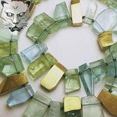 Barbara Christie - Aquamarine - 18ct gold-silver/clean cut aquamarine necklace…