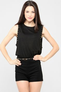"""How much edgier can this outfit get! Check out the  """"Cross Belt High Waist Shorts"""" and """"Sleeve Studded Muscle Tee"""" at www.cicihot.com #pyramidstuds #tank #blacktank #highwaitshorts #belt #cross #summeredge #edgy #chic #summerstyle #springfashion"""