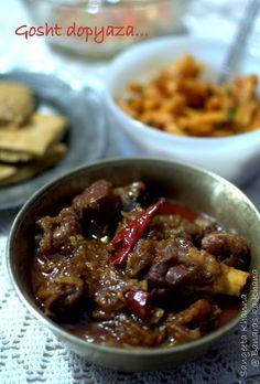 banaras ka khana: gosht dopyaza or mutton dopyaza (UP style), a simple home style mutton curry. Lamb Recipes, Spicy Recipes, Curry Recipes, Indian Food Recipes, Cooking Recipes, Mince Recipes, Simple Recipes, What's Cooking, Drink Recipes