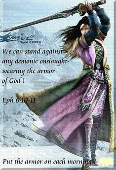EPHESIANS 6:10 put on the whole armor of God. Woman warrior with sword of spirit. Prophetic art painting.
