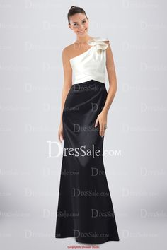 Modern Two-tone Satin Sheath Bridesmaid Dress Featuring Ruffled One-shoulder Neckline