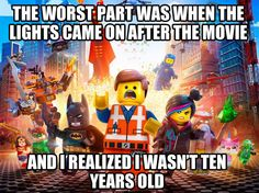 The worst part of the Lego movie…This is so true!  Jay and I both LOVED IT, especially the retro Lego from our days as kids