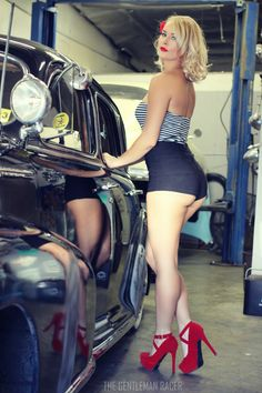 Playboy Playmate Athena Lundberg poses with a 1944 Chevrolet Fleetmaster for Photographer Michael Satterfield. Trucks And Girls, Car Girls, Pin Up Girls, Car Poses, Up Auto, Pin Up Car, Rockabilly Cars, Classy Cars, Pin Up Photography