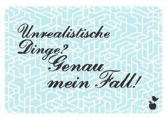Unrealistische Dinge? Genau mein Fall! unrealistic ideas? That's my thing! #Postkarte von #Discordia www.der-schreibladen-shop.de  #postcards #Papeterie #postcrossing #Schreibwaren #Nürnberg