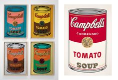 Campbell's Limited Edition: Andy Warhol Campbell's Condensed Tomato Soup cans were released to celebrate the 50th anniversary of Warhol's 162 famed work. The four designed labels reflect Warhol's pop style and use vibrant, eye-catching color combinations like orange and blue or pink and teal.