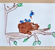 N is for Nest Hand Print Art Bird Crafts Preschool, Preschool Letters, Toddler Crafts, Crafts For Kids, Infant Crafts, Letter Activities, Preschool Worksheets, Letter N Crafts, Alphabet Crafts