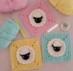 Some Ideas Of Crochet Passion Patterns Crochet Sheep, Crochet Diy, Crochet Motifs, Crochet Stitches, Crochet Patterns, Point Granny Au Crochet, Crochet Squares Afghan, Baby Blanket Crochet, Granny Squares