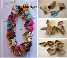 DIY Easy projects for kids part 2 heart wreath Toilet Roll Craft, Toilet Paper Roll Art, Rolled Paper Art, Toilet Paper Roll Crafts, Tissue Roll Crafts, Projects For Kids, Diy For Kids, Craft Projects, Diy And Crafts